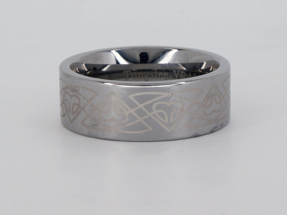 Tungsten Celtic Trillium Ring Availabel at The Vault Fine Jewellery