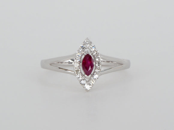 10k White Gold Ruby Diamond Ring Availabel at The Vault Fine Jewellery