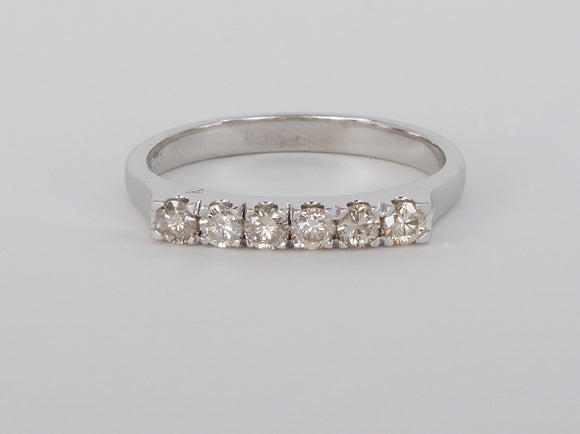 14k White Gold 6 Diamond Anniversary Diamond Ring Availabel at The Vault Fine Jewellery