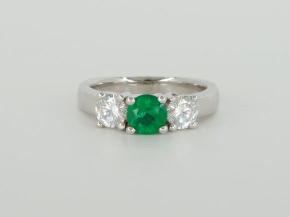 Three Gem Moissanite Emerald Custom Ring Availabel at The Vault Fine Jewellery