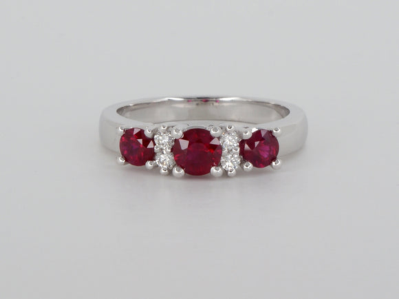 18k White Gold Ruby Diamond Ring Availabel at The Vault Fine Jewellery