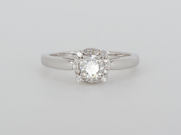 14k White Gold Halo Diamond Ring Availabel at The Vault Fine Jewellery