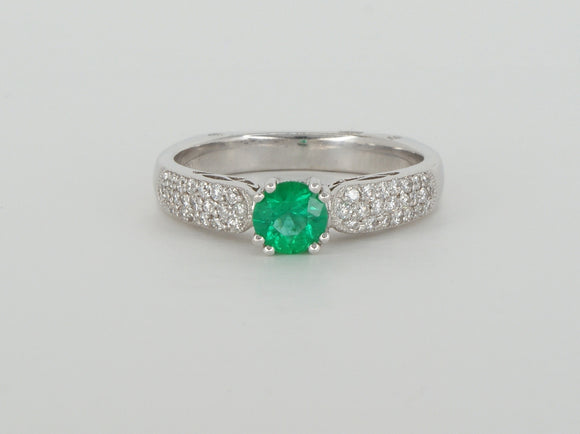 18k White Gold Emerald Diamond Ring Availabel at The Vault Fine Jewellery