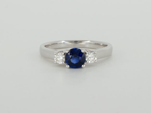 18k White Gold Blue Sapphire Diamond Ring Availabel at The Vault Fine Jewellery