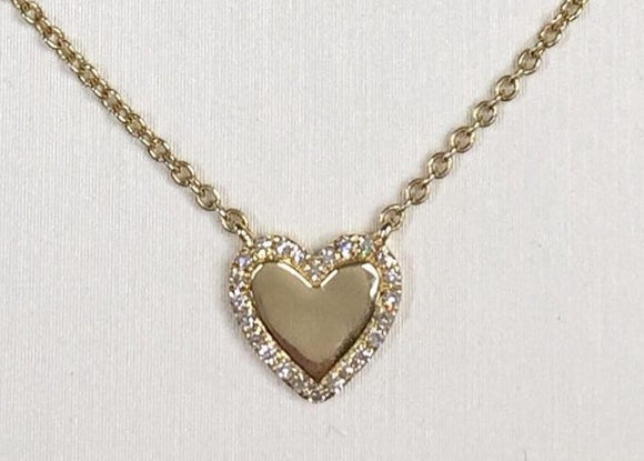 14K Yellow Gold Diamond Heart Necklace by Miss Mimi | 18