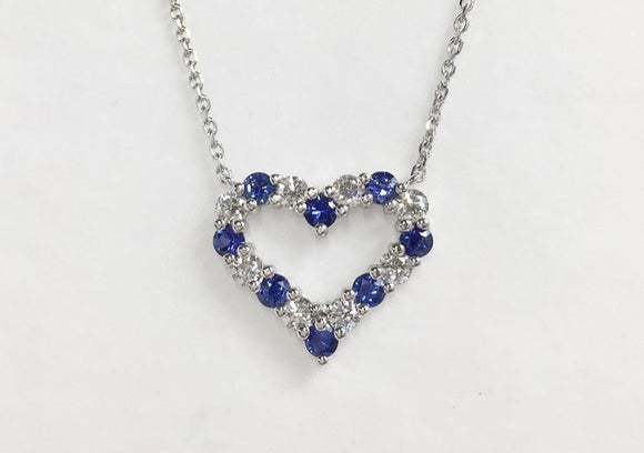 14K White Gold Blue Sapphire & Diamond Heart Necklace