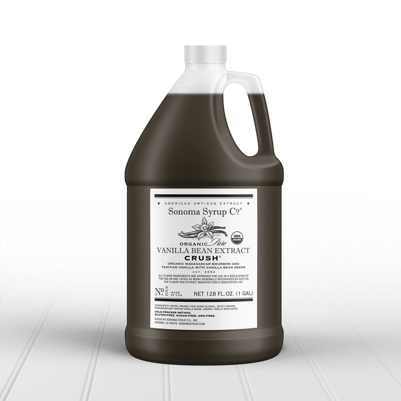 Organic Original Tahitian & Madagascar Vanilla Extract with crushed vanilla seeds in gallon size for foodservice