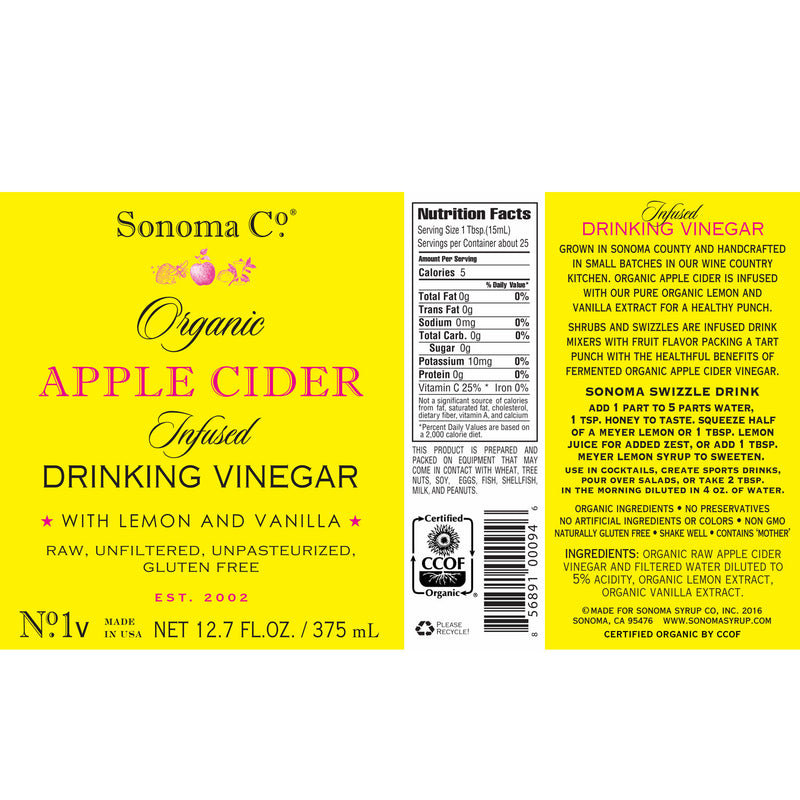 No. 1v Organic Apple Cider Infused Drinking Vinegar