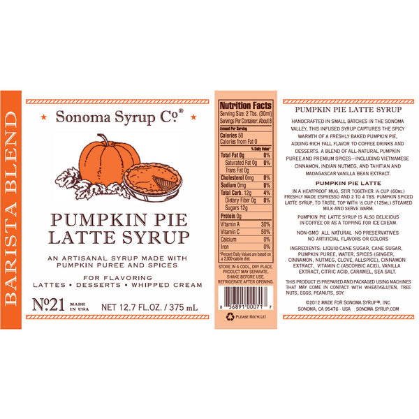 No. 21 Pumpkin Pie Latte Syrup