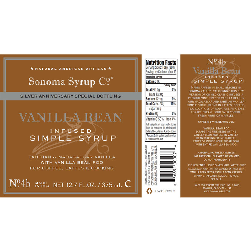 No. 4B Vanilla Bean Simple Syrup - Silver Anniversary