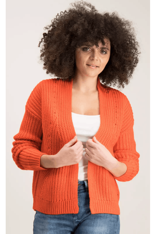 Orange Chunky Rib Knit Short Cardigan Cardigans