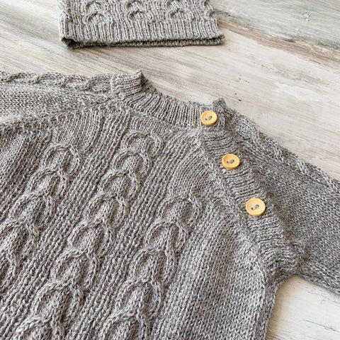 100 percent Baby Alpaca Romper and Ear Hat Set in Gray with Buttons