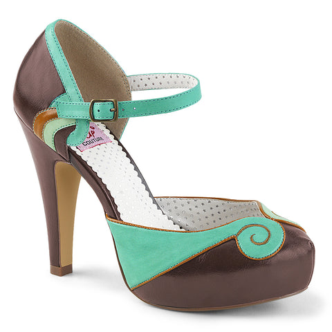 BETTIE-17 - Teal-Brown Faux Leather