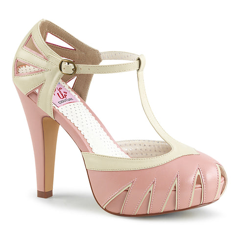 BETTIE-25 - B. Pink-Cream Faux Leather