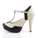BETTIE-29 - Navy Blue-Cream Faux Leather