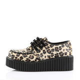 CREEPER-112 - Tan Leopard Print Faux Fur-Blk Pat