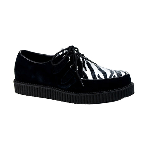 CREEPER-600 - Blk Suede-Zebra Fur