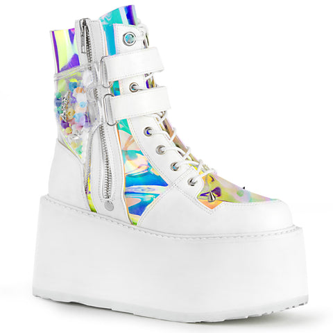 DAMNED-115 - Wht Vegan Leather-Clear Hologram PVC