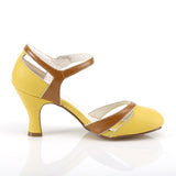 FLAPPER-27 - Yellow-Tan Faux Leather