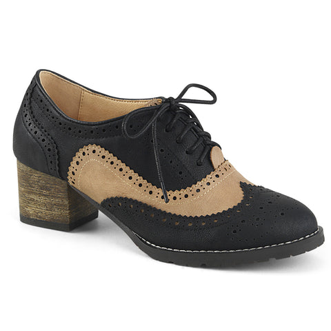 RUSSELL-34 - Black-Tan Faux Leather