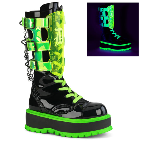 SLACKER-156 - Blk Pat-UV Neon Green