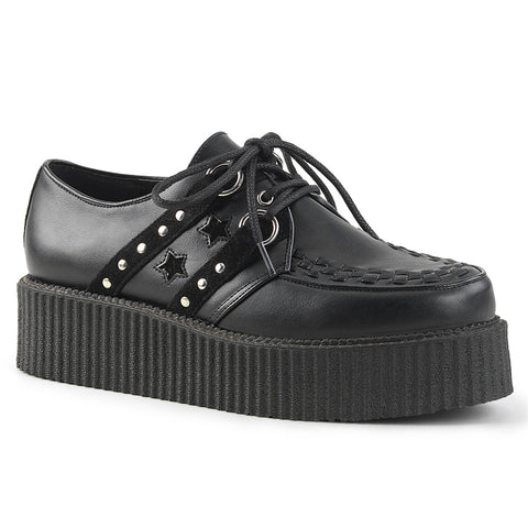 V-CREEPER-538 - Blk Vegan Leather-Suede