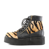 V-CREEPER-571 - Blk Vegan Leather -Tiger Print Faux Fur