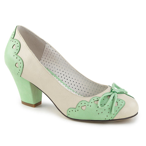 WIGGLE-17 - Cream-Mint Faux Leather