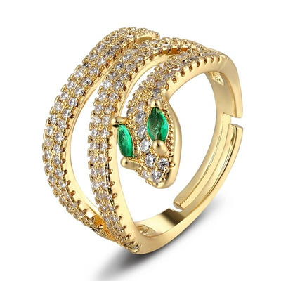Bague Serpent Or Diamant Vert