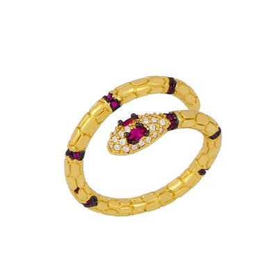 Bague Serpent Or Femme rubis