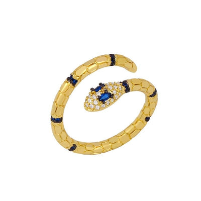 Bague Serpent Or Femme Diamant bleu
