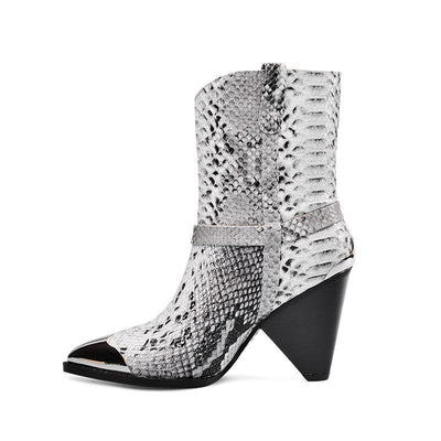 Bottines Serpent Cuir blanc