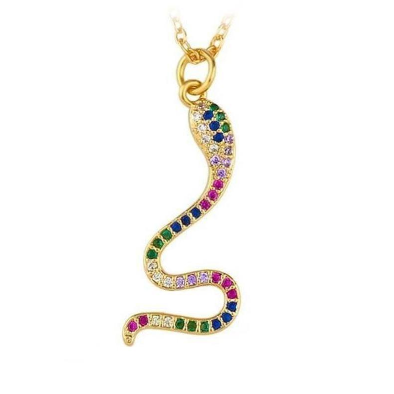 Collier Serpent Or Jaune Multicolore