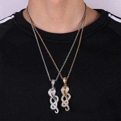 Collier Serpent Strass Or homme