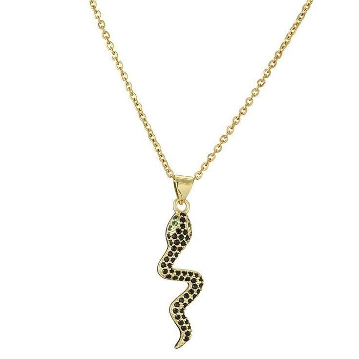 Collier Serpent Zirconium Noir