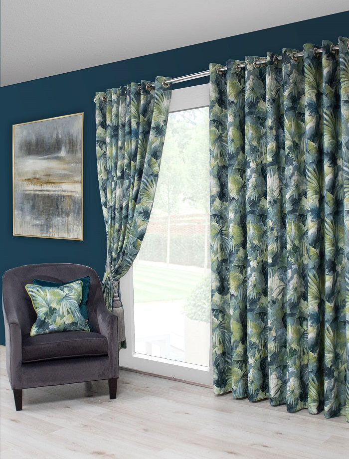Scatter Box Aria Pair of Pinch Pleat Curtains, Teal/Green