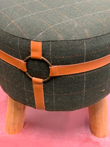 Small Footstool in Green Fabric