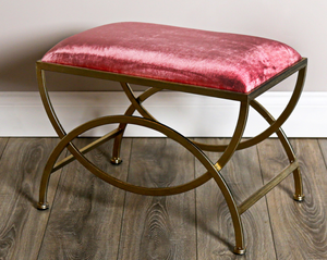Rectangle Padded Metal Stool by Harold Elmes