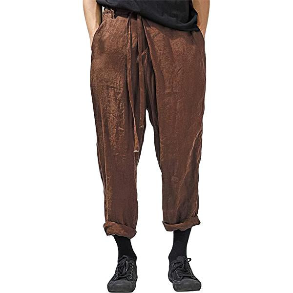 Herren Leinen Baggy Kordelzug Elastic Waist Pockets Pencil Pants