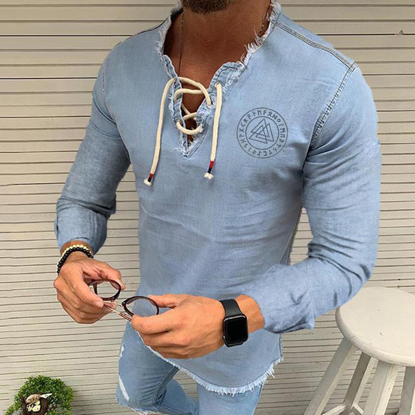 Herren Schnürung Quaste Stretch Denim Langarm Triangle Shirts