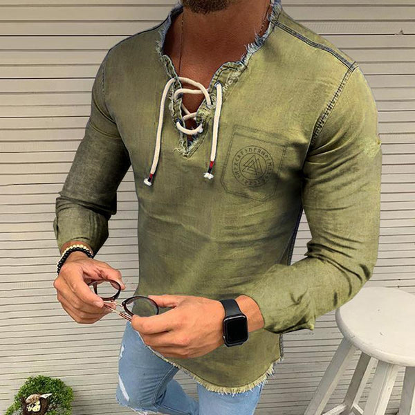 Herren Schnürung Quaste Stretch Denim Langarm Pocket Triangle Shirts