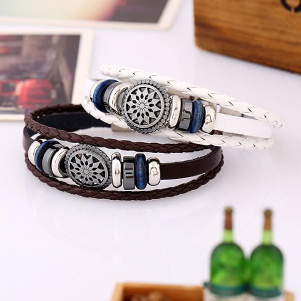 Men's Vintage Sun Flower Genuine Leather Woven Bracelet