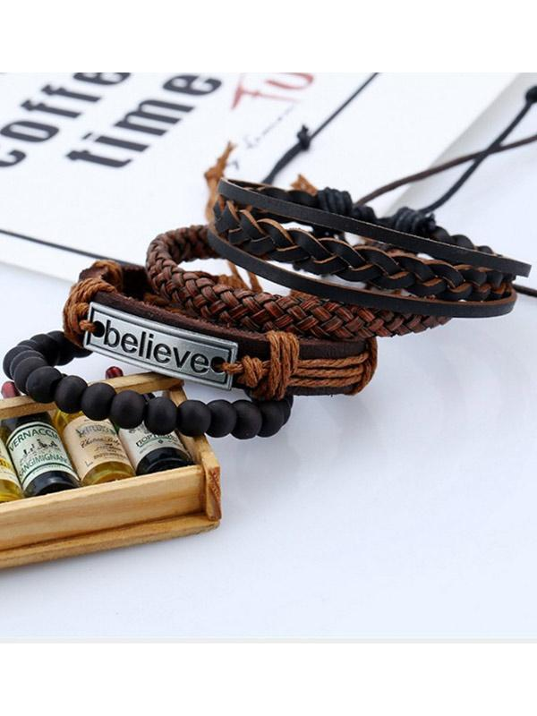 Unisex-Believe vintage woven leather bracelet