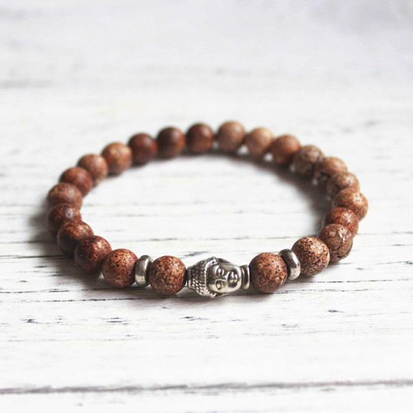 Men's Natural Stone Agate Buddha Head Bracelet