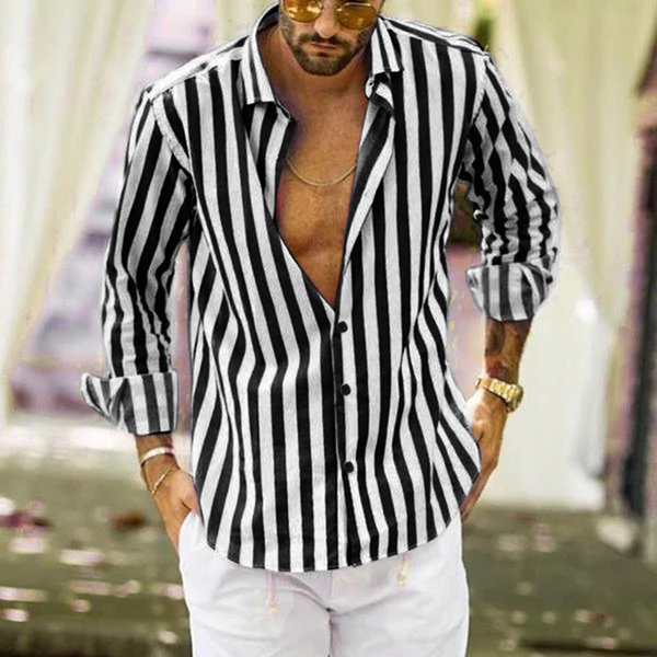 Button  Multicolor Down Long Sleeve Striped Men Shirt