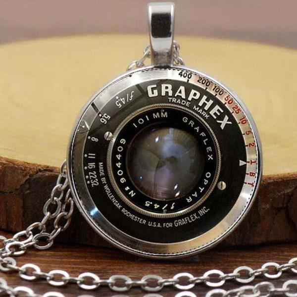 Punk Lens Time Gemstone Necklace Pendant