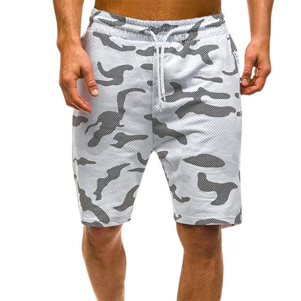 Men's Camouflage Lace-up Black and White Loose Breathable Shorts