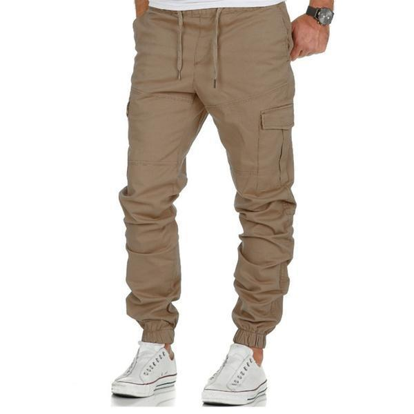 Men's Cotton Jogger Pants Multi Pockets Sport Casual Fitness Trousers