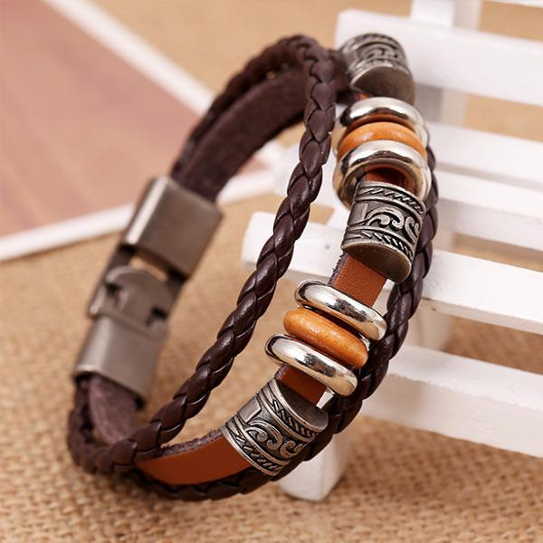 Men's Vintage Alloy Woven Leather Bracelet