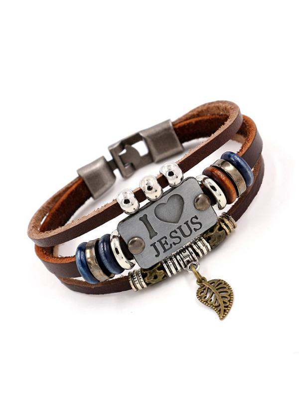 Unisex-I Love JUSES Vintage Beaded Leather Bracelet